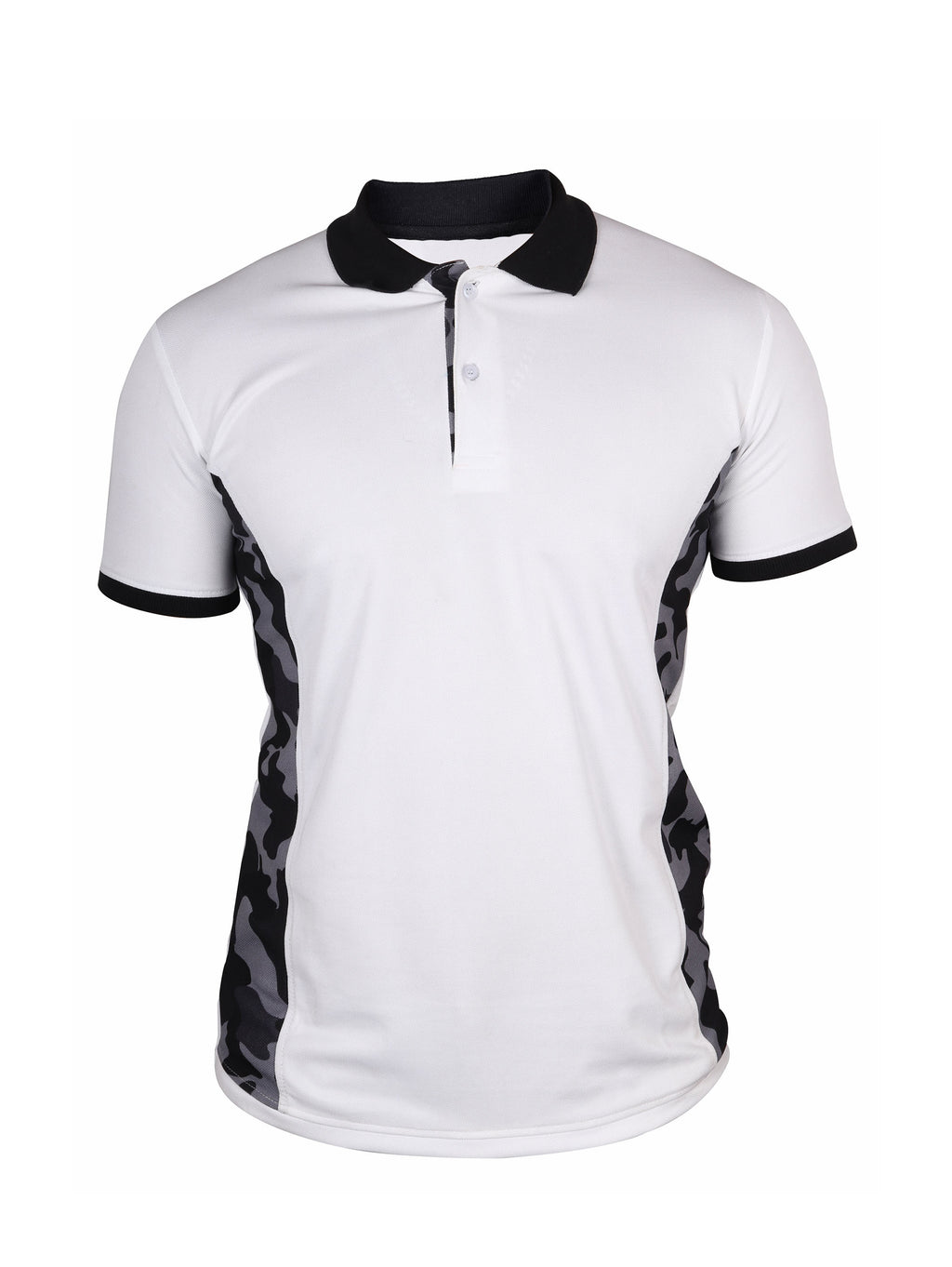 White & Camo Half Sleeve Polo T-Shirt
