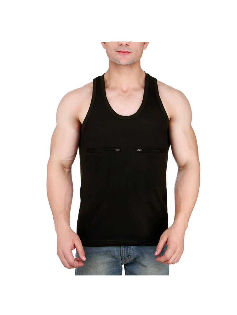 Black Vest with Pocket for Men