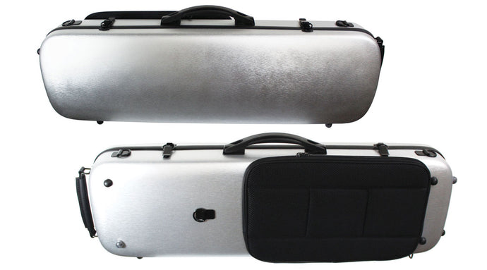 Polycarbonate Oblong Violin Case Silver Weave, Blue, Brushed Silver
