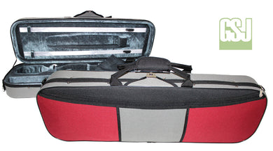 GSJ Two Tone Oblong Violin Case Red/Grey 4/4 & Black Grey 4/4-1/2