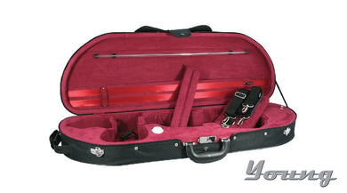 D Shape Half Moon Violin Case 4/4 black/red