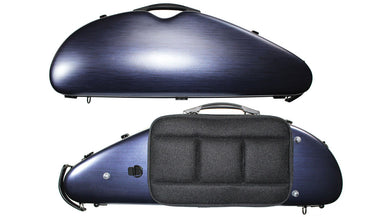 Polycarbonate Rocket Shaped Violin Case Silver Weave, Blue