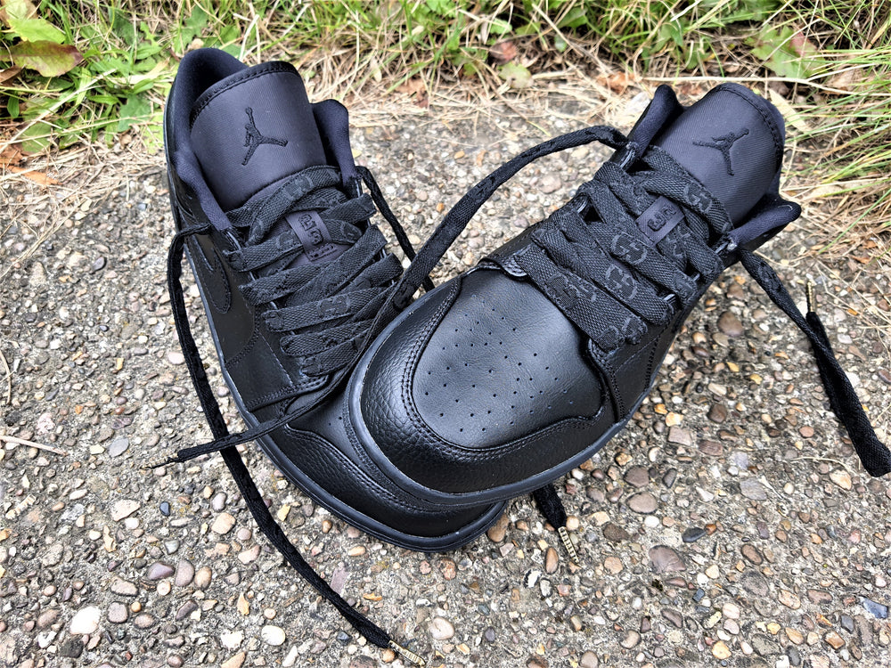 Load image into Gallery viewer, Black Nike Air Jordan 1 Low With Black GG Laces -