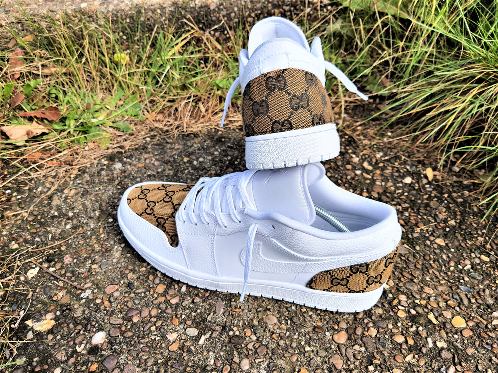 White, Tan & Black GG Nike Air Jordan 1 Low -