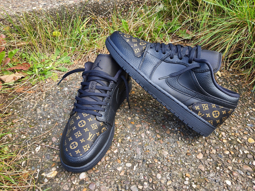 Gold & Black Nike LV Air Jordan 1 Low -