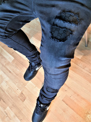 Black Distressed Gucci Slim Fit Jeans -