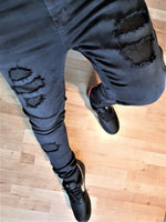 Custom Black Distressed GG Slim Fit Jeans -