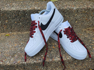 White Nike AF1/ Air Force 1 07 With Black & Red GG Laces -