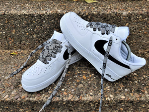 White Nike AF1/ Air Force 1 07 With Black & Grey Gucci Laces -