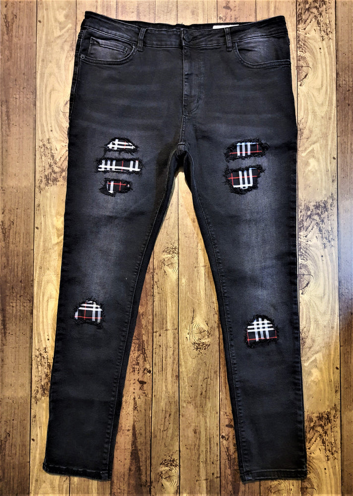 Custom Black & Grey Distressed Burberry Slim Fit Jeans -