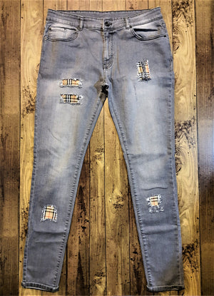 Custom Grey Distressed Burberry Slim Fit Jeans -
