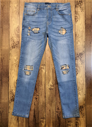 Load image into Gallery viewer, Custom Blue Distressed Burberry Slim Fit Jeans -
