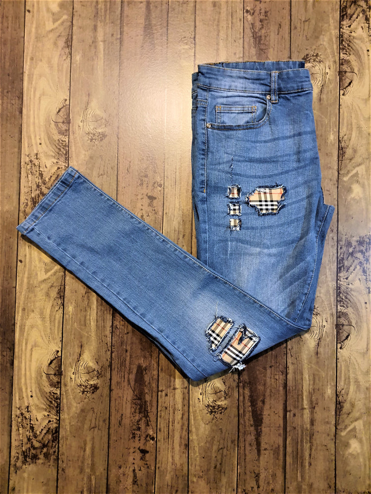Custom Blue Distressed Burberry Slim Fit Jeans -