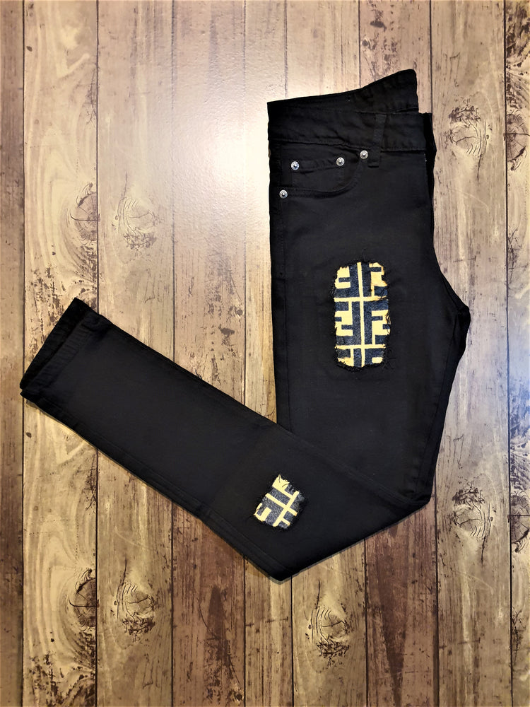 Custom Black Distressed FENDI Slim Fit Jeans -