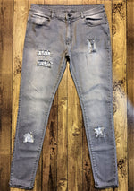 Custom Grey Distressed Dior Slim Fit Jeans -