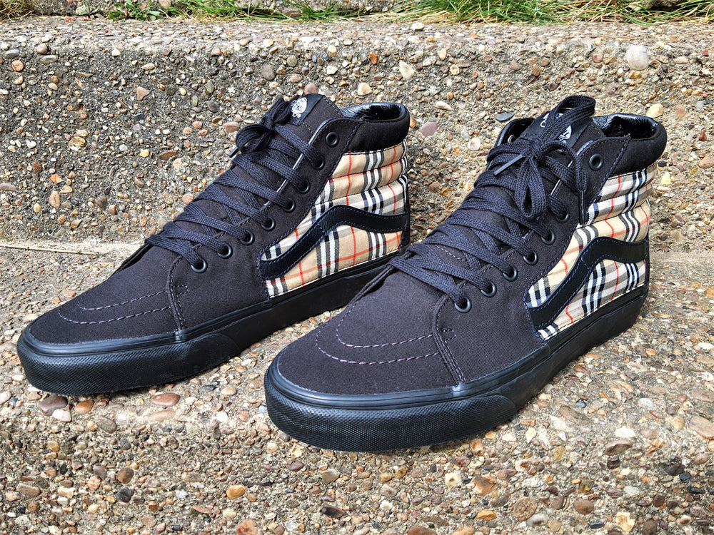 Black Sk8-Hi Burberry Vans - Uniquefit Apparel