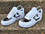 White Nike AF1/ Burberry Air Force 1 low - Uniquefit Apparel
