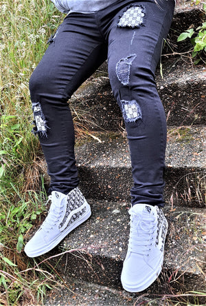Custom Black & Grey Distressed GG Slim Fit Jeans -