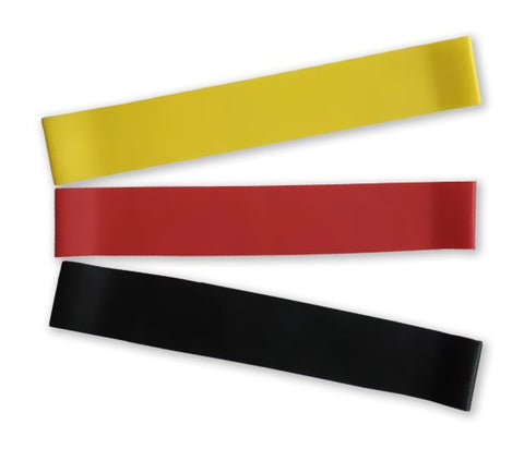 mini loop resistance band pack - 3 colors (fanned)