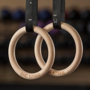 GND Fitness Wooden Gymnastic Rings W/ Nylon Bracing Straps