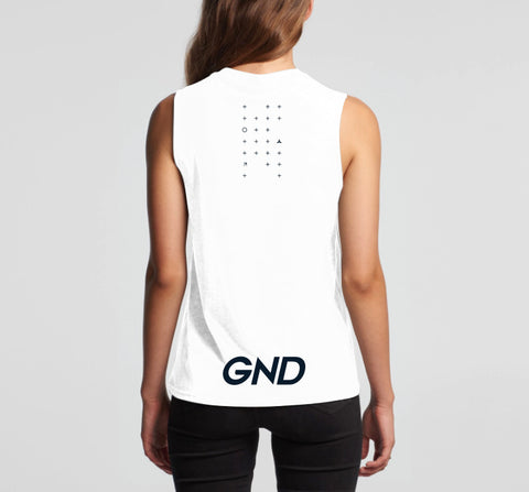 GND Fierce womens tank top white back