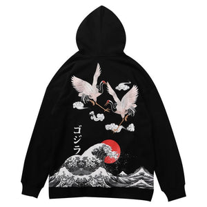 NIGHT WAVE | AESTHETIC CRANE HOODIE (EMBROIDERED)
