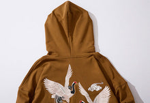 Load image into Gallery viewer, NIGHT WAVE | AESTHETIC CRANE HOODIE (EMBROIDERED)