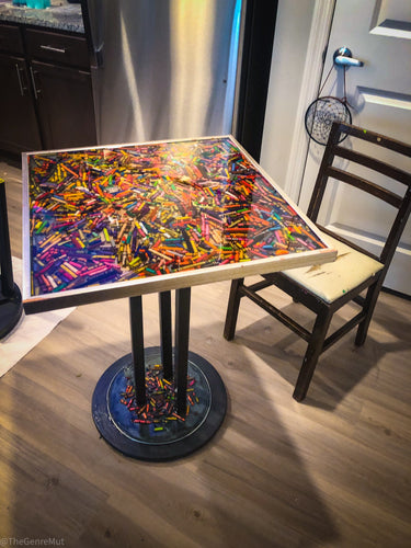 Handmade crayon in resin dining table