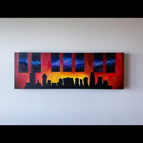 City stars Nashville skyline acrylic painting