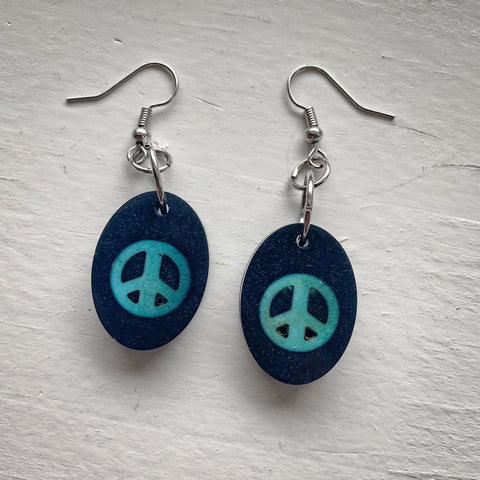 Turquoise peace sign oval set of handmade resin earrings