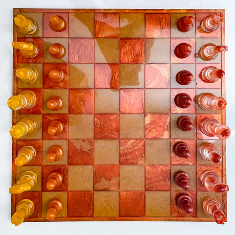 Handmade fire inspired resin chess set