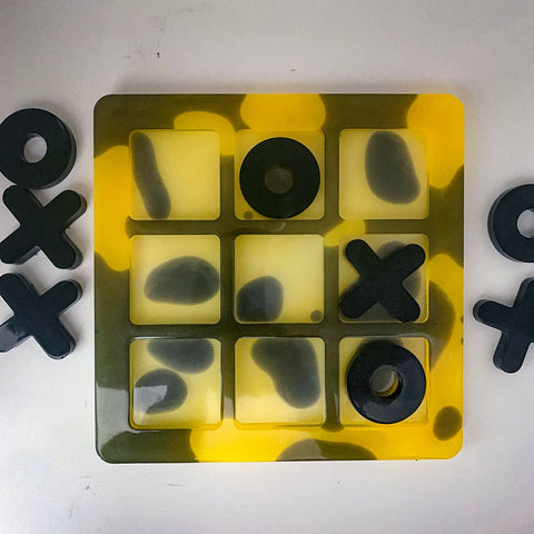 Yellow Glow in the dark large handmade resin tic-tac-toe board and pieces