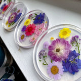Floating flowers with pearly white bottom handmade coaster set