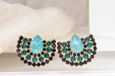 Green emerald black cluster earrings