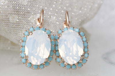 opal turquoise drop earrings