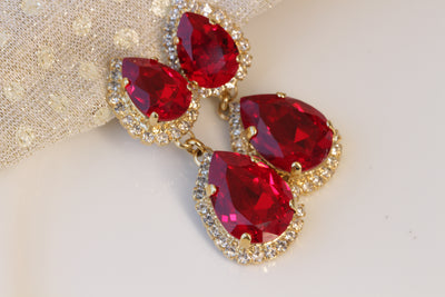 Ruby red swarovski earrings