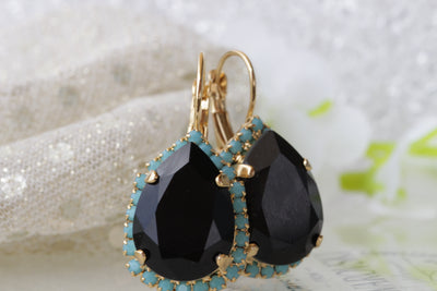Black evening earrings