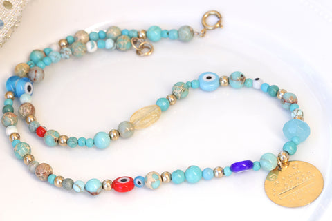 evil eye beaded coin necklace