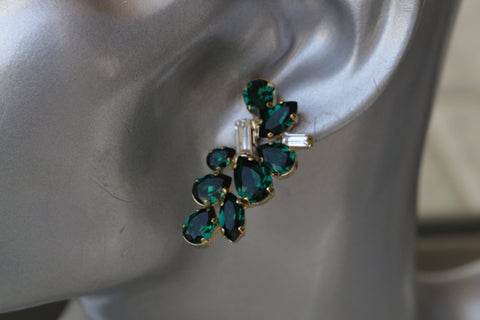 Dark green crystal earrings