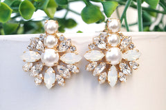 pearl with opal stud earrings for brides