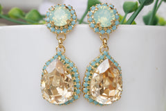 champagne mint earrings