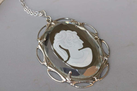 silver cameo necklace jewelry