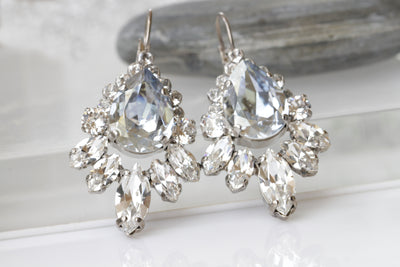 Dusty blue wedding earrings