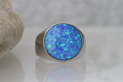 Opal silver ring