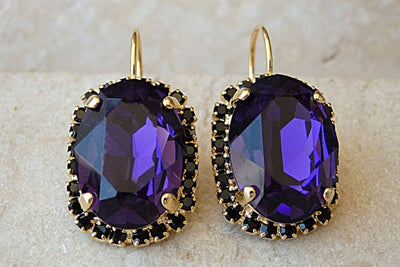 Amethyst Swarovski Oval Drop Earrings