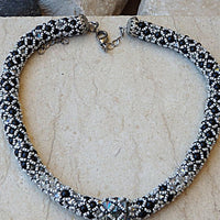 Black And Gray Crochet Necklace