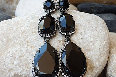 Black Chandelier Earrings. Black Swarovski Earrings