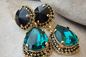 Black Emerald Chandelier Earrings