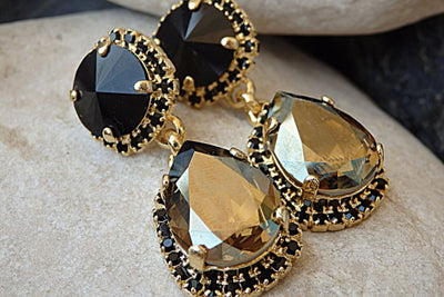 Black Evening Chandelier Earrings