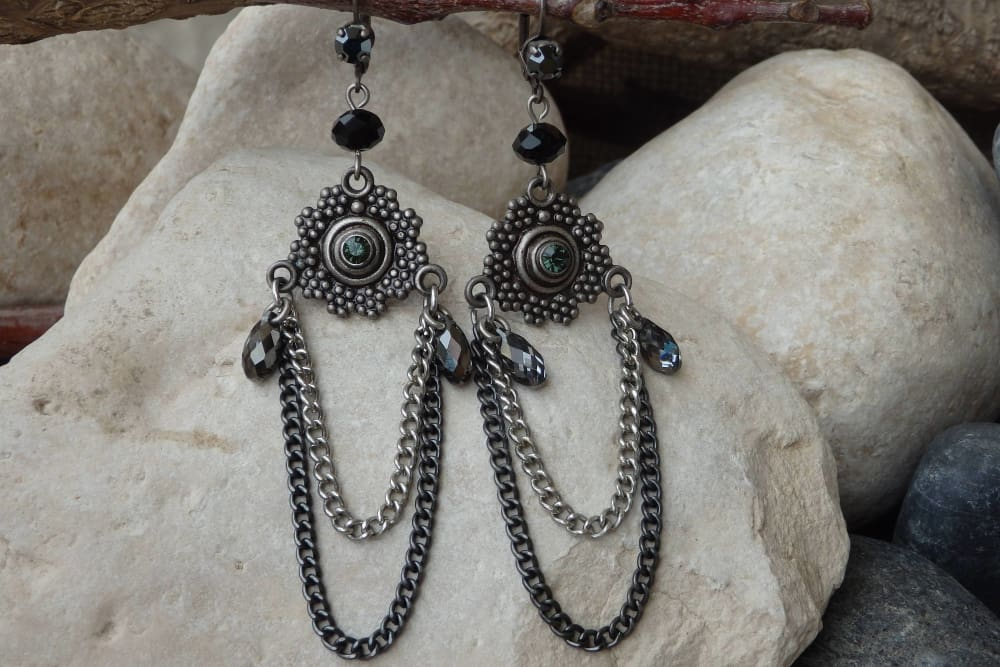 Black Grey Earrings